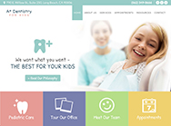 A Plus Dentistry For Kids website home page